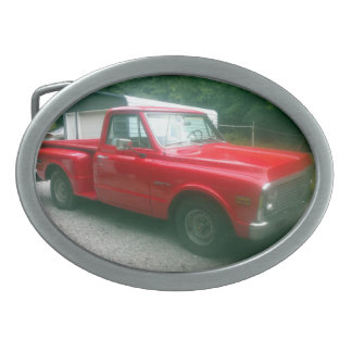 Red 1972 Chevy C10 Stepside Truck Oval Belt Buckle