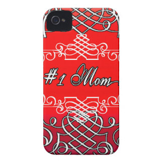 Red #1 MOM Mother's day typography gift Case-Mate iPhone 4 Case