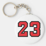 Red 23 basic round button key ring