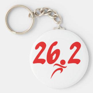 Red 26.2 marathon basic round button key ring