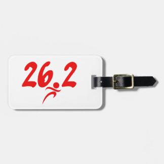 Red 26.2 marathon luggage tag