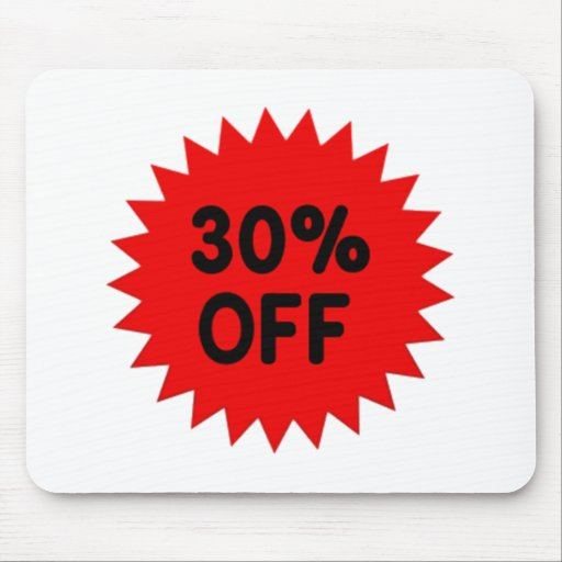 Red 30 Percent Off Mouse Pad