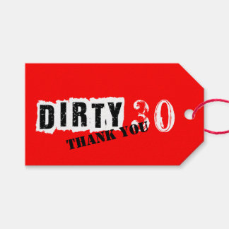Red 30th Dirty 30 Thirtieth Party Gift Tags
