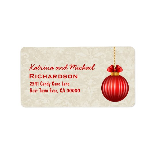 Red 3D Look Christmas Ornament with Bow C01 Label