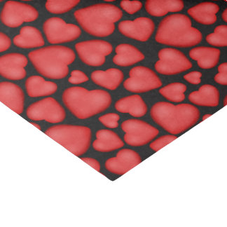 Red 3D look hearts on black Tissue Paper
