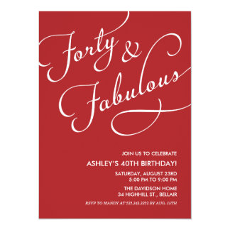 "Red 40 and Fabulous Invitations 5.5"" X 7.5"" Invitation Card"