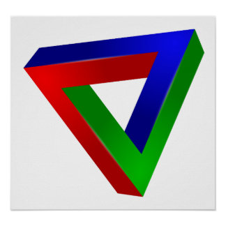 red-41230 OPTICAL ILLUSIONS TRIANGLE SHAPES TWISTE Poster
