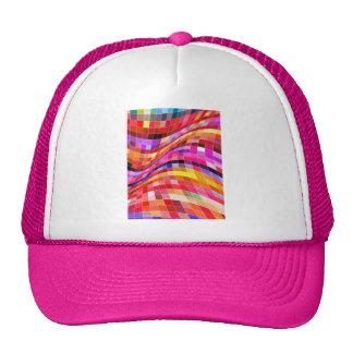 red-69291 ILLUSIONS WAVY SQUARES Red purple diamon Mesh Hats