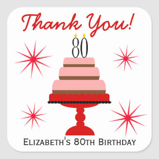 Red 80th Birthday Cake Favor Stickers