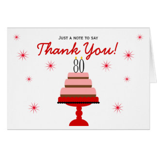 Red 80th Birthday Cake Thank You Note Card