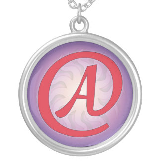 "Red ""A"" on Purple Pendant Necklace"