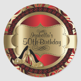 Red Abstract Birthday Gold High Heels Round Sticker