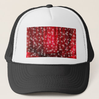 Red abstract Christmas background stars Trucker Hat