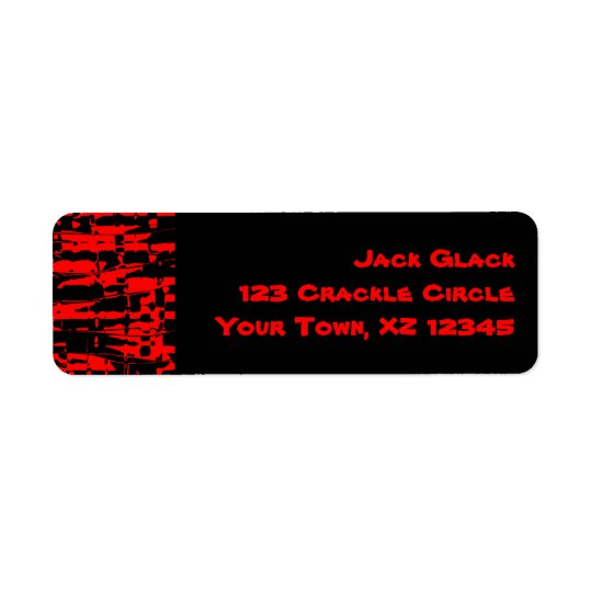Red Abstract Crackle Return Address Label
