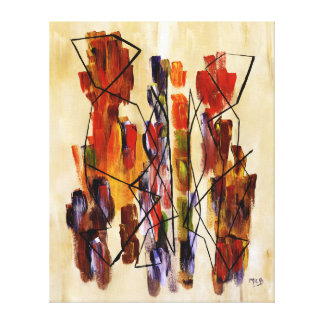 Red Abstract Ethnic Couple Beige Canvas Print