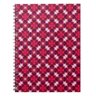 Red Abstract Floral Pattern Spiral Notebook