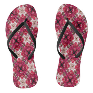Red Abstract Floral Pattern Thongs
