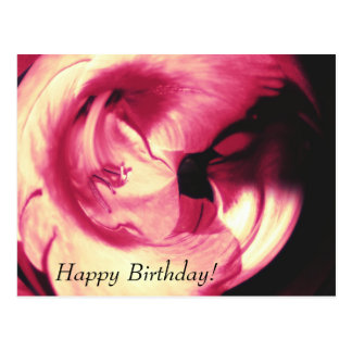 Red Abstract Flower Happy Birthday Postcard
