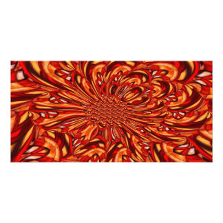 Red Abstract Kaleidoscopic Fractal Photo Greeting Card
