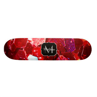 Red abstract mosaic shiny glitter pattern Monogram 18.1 Cm Old School Skateboard Deck
