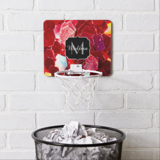 Red abstract mosaic shiny glitter pattern Monogram Mini Basketball Hoop