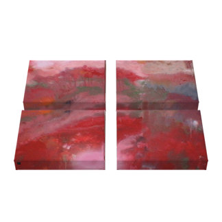 Red Abstract on canvas - Quad (artist signature) Canvas Print