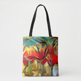 Red abstract painted tulips, flowers, floral tote