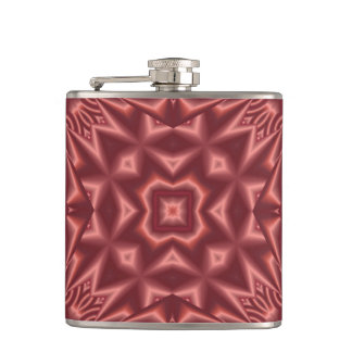 Red abstract pattern hip flask