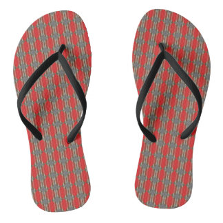 Red Abstract Print Flip Flops