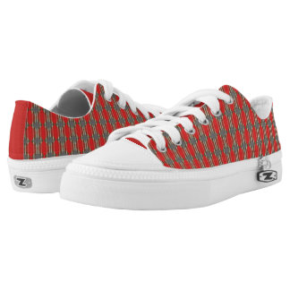 Red Abstract Print Low Top Shoes