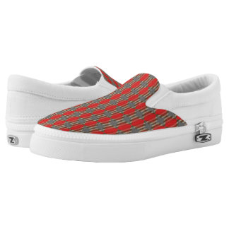 Red Abstract Print Slip On Shoes