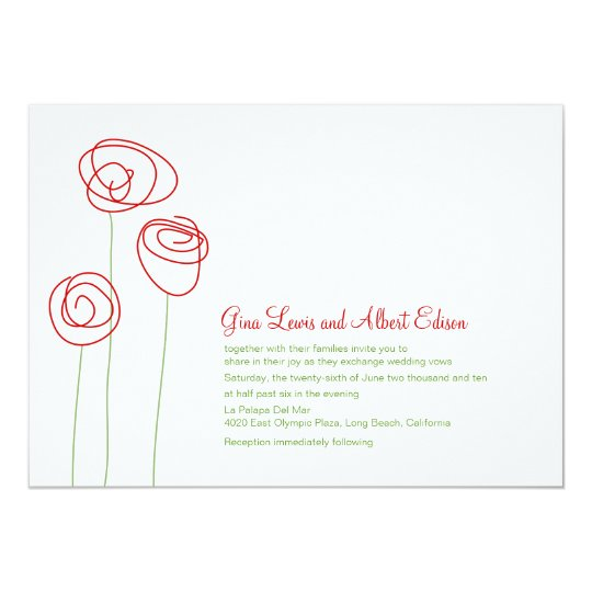 Red Abstract Roses Wedding Invitation
