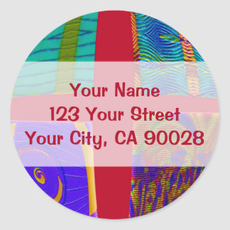 red abstract round sticker