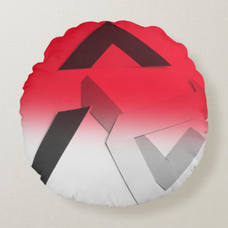 RED ABSTRACT ROUND THROW PILLOW