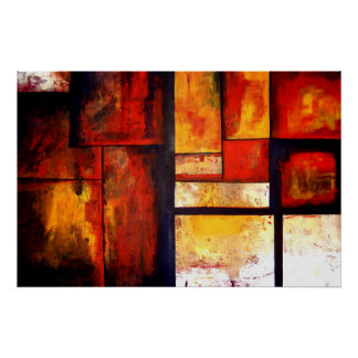 Red Abstract Squares Art Poster Print