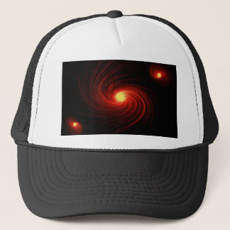 Red abstract swirl trucker hat