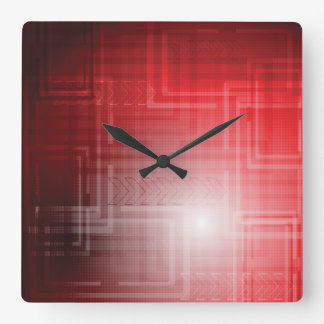 Red Abstract Tech Print Square Wall Clock