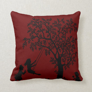 red Abstract Tree kids playing pillow Throw Cushion