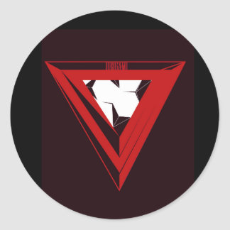 Red Abstract Triangle- Vector Art Classic Round Sticker