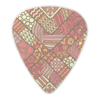 Red abstract tribal aztec pattern acetal guitar pick