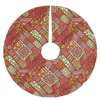 Red abstract tribal aztec pattern brushed polyester tree skirt