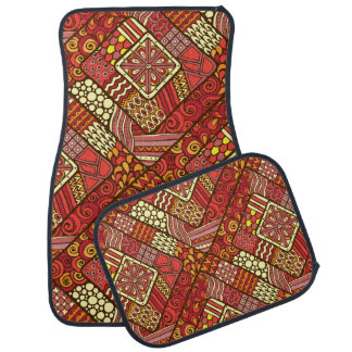 Red abstract tribal aztec pattern car mat