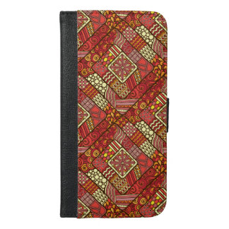 Red abstract tribal aztec pattern iPhone 6/6s plus wallet case