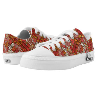 Red abstract tribal aztec pattern low tops