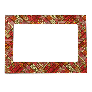 Red abstract tribal aztec pattern magnetic frame