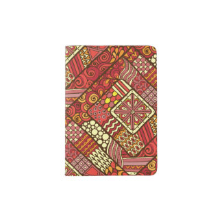 Red abstract tribal aztec pattern passport holder