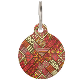 Red abstract tribal aztec pattern pet ID tags