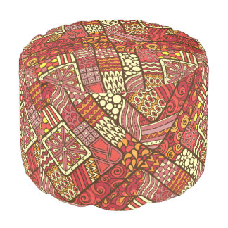 Red abstract tribal aztec pattern pouf
