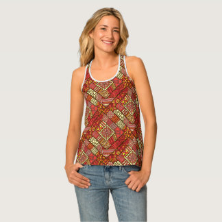 Red abstract tribal aztec pattern singlet