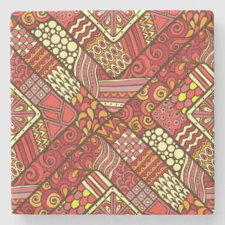 Red abstract tribal aztec pattern stone beverage coaster